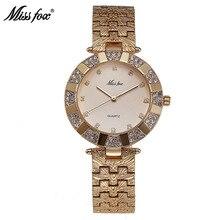 Miss vos vrouwelijke goud grote wijzerplaat quartz horloge waterdicht 50m legering diamant horloge vrouw armband horloge luxe damesmode dames
