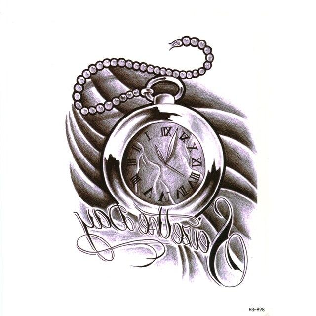 Reloj De Bolsillo A Prueba De Agua Temporales Tatuajes Hombres Perla