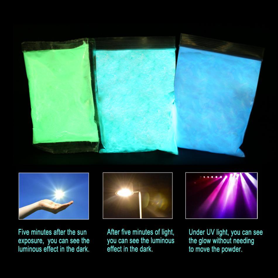 все цены на 100g Glowing Sky Blue luminous Powder Phosphor Pigment Glow in Dark Dust Powder Nail Glitter Pigment Nail Art Decorations онлайн