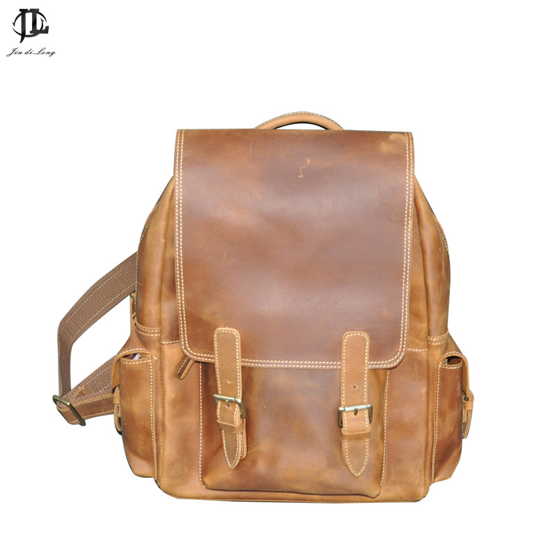 new Fashion brown color genuine leather font b men s b font backpacks cowhide leather