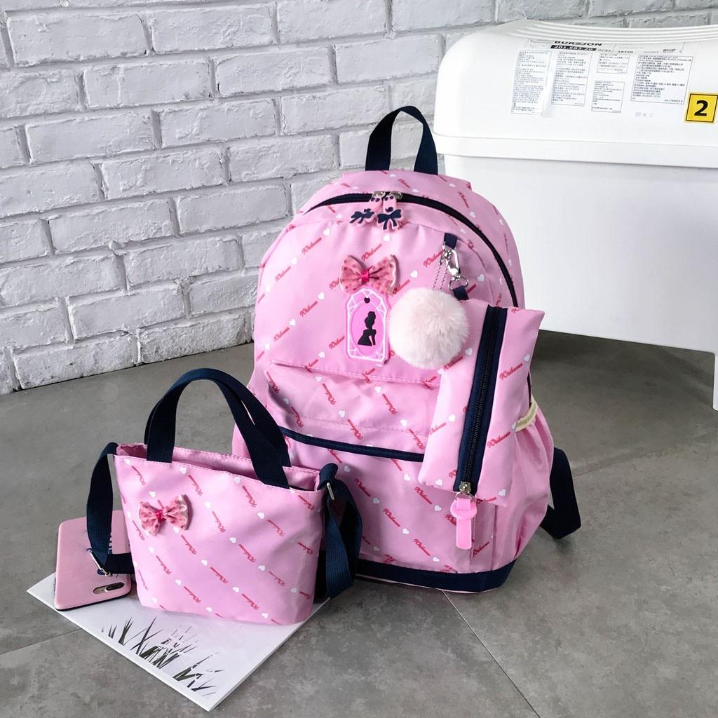 Women Bow Canvas Three-piece School Bag 15