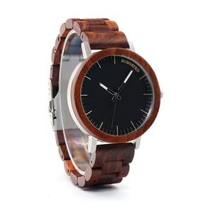 Image 4 - BOBO BIRD WM16 Brand Design Rose Wooden Watch for Men Cool Metal Case Wood Strap Quartz Watches Luxury Unisex Gift