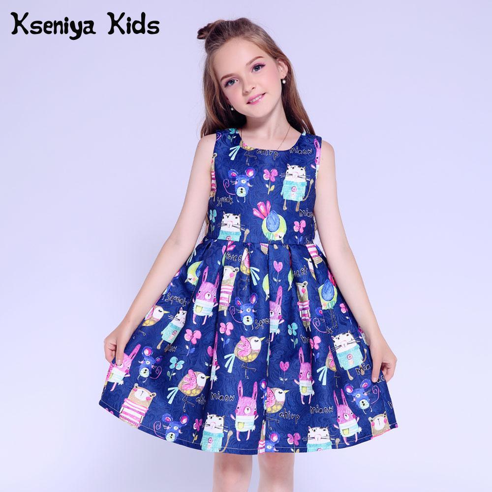 Children Kid Girls Ruffles Pineapple Print Sleeveless Princess Dress Clothes L