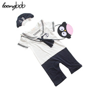 Hot Baby Clothes Unisex Sailor Collar Rompers With Anchor Printed Hat Infants Navy Style Boys Girls
