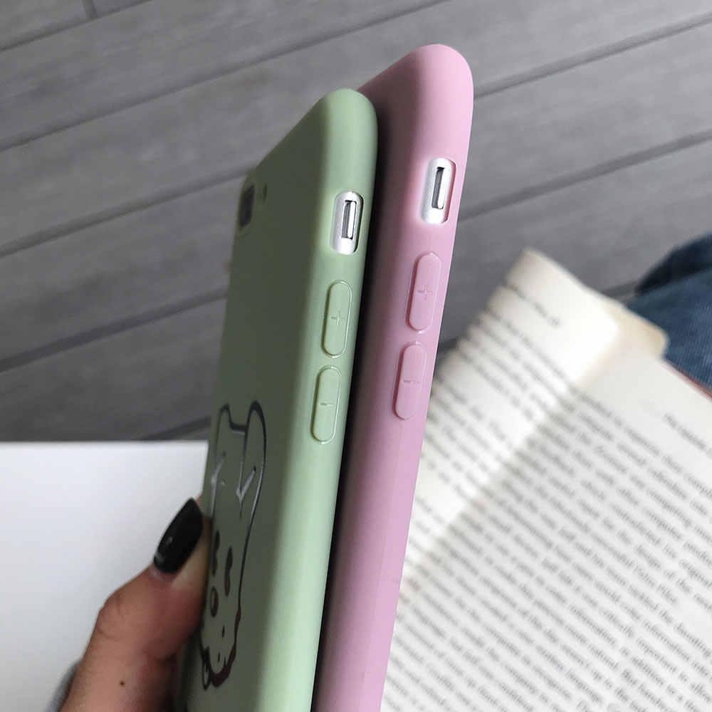 Caso Do Cão Do Gato Para o iphone 7 BEIJOS 8 X XS 7 8 plus 5 5S SE 6 6 S plus bonito Dos Desenhos Animados Caso LetterCPhone para iPhone XR XS MÁXIMA Cobertura