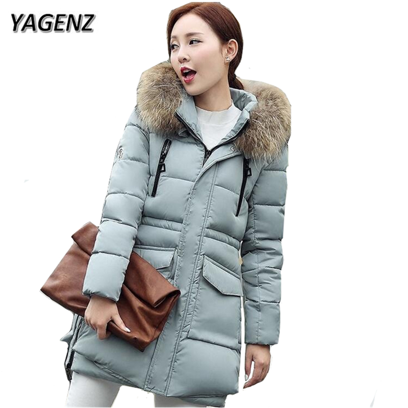 YAGENZ 2017 Winter Jacket Women Parkas Hooded Coat Warm Thick Medium Long Loose Cotton Down Jacket Casual Coat New Plus Size 3XL winter women down jacket hooded thick warm cotton coat large size new style casual jacket slim long sleeve medium long coat 2580