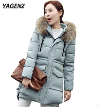 YAGENZ 2017 Winter Jacket Women Parkas Hooded Coat Warm Thick Medium Long Loose Cotton Down Jacket Casual Coat New Plus Size 3XL