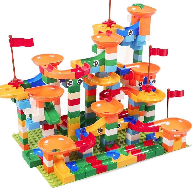 74-296 piezas unids de mármol carrera de carreras laberinto pista bloques de construcción ABS embudo deslizante ensamblar ladrillos compatibles Legoed Duplo bloques Juguetes