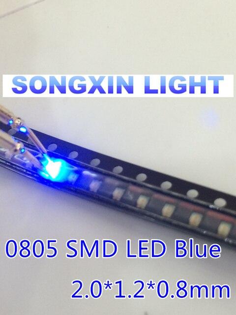 100PCS SMD 0805 Blue Super Bright SMD LED Lamps Diodes 0805 LED 0805 diodes 460-465nm 80-120mcd 3.0-3.4v light-emitting diode