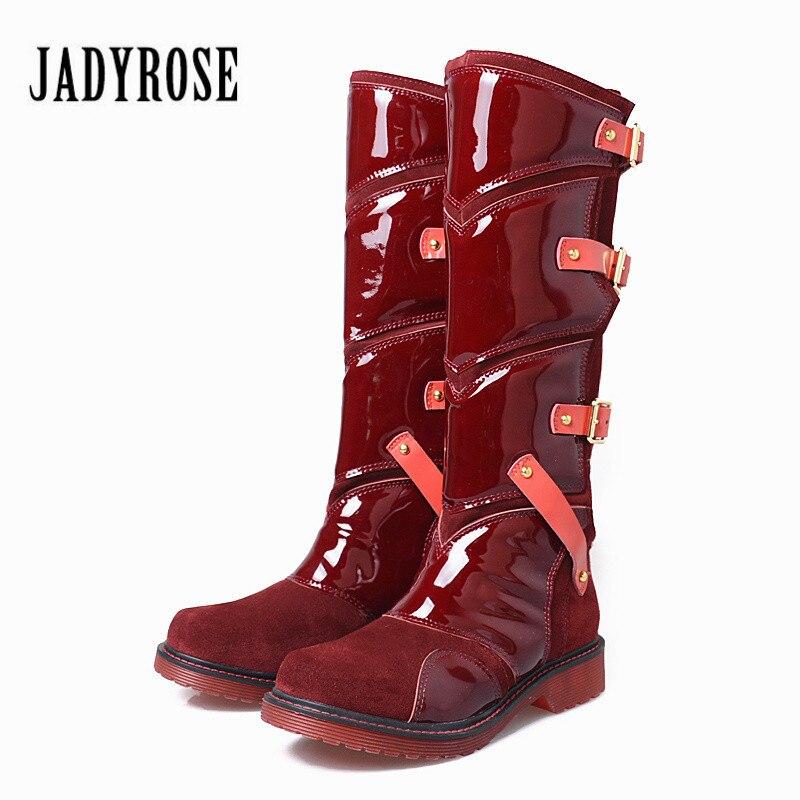 Jady Роза 2019 новый в стиле панк женские ботинки для верховой езды ботинки на плоской подошве, до середины икры ботинки на платформе Mujer Slim Fit ре