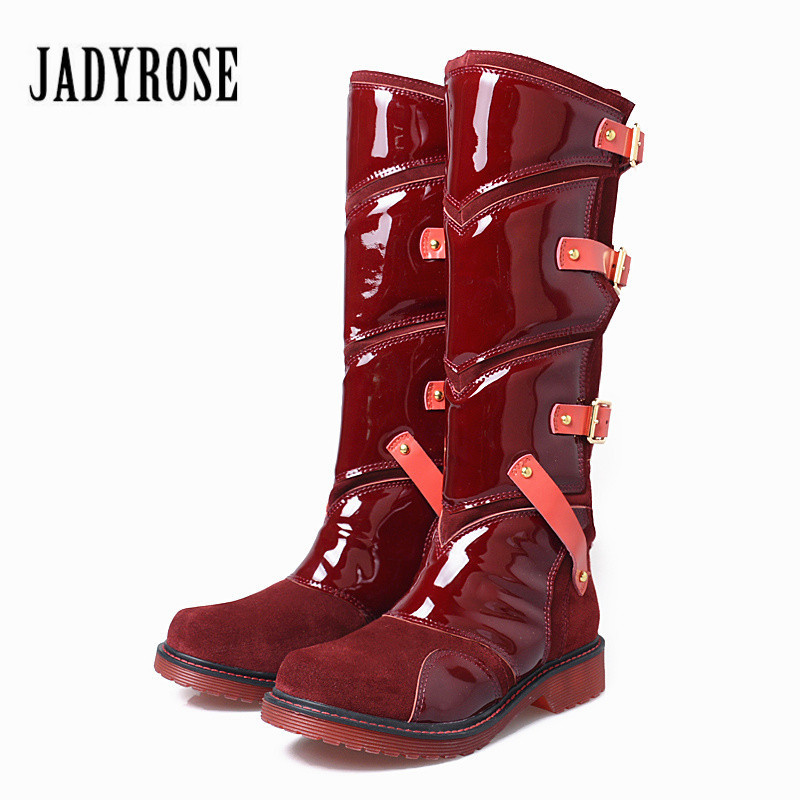 Jady Rose 2018 New Punk Style Women Martin Boots Mid-Calf Flat Boots Platform Botas Mujer Slim Fit Straps Buckles Shoes Woman prova perfetto punk style women martin boots platform flat botas mujer straps buckles rubber shoes woman knee high boots