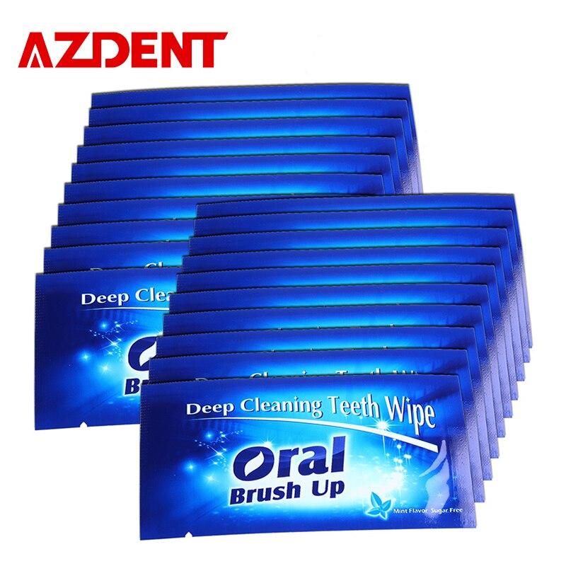 Azdent 100ピース/ロット口腔ブラシアップ歯ワイプ指歯ワイプ歯ホワイトニングキット深いクリーニング歯科ワイプ口腔衛生 -