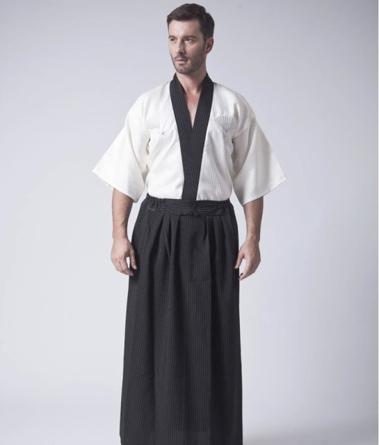 Classic Japanese Samurai Clothing Mens Warrior Kimono With Obi Traditional Satin Yukata Convention Costume One Size