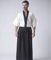 Classic Japanese Samurai Clothing Men S Warrior Kimono With Obi Traditional Satin Yukata Convention Costume One