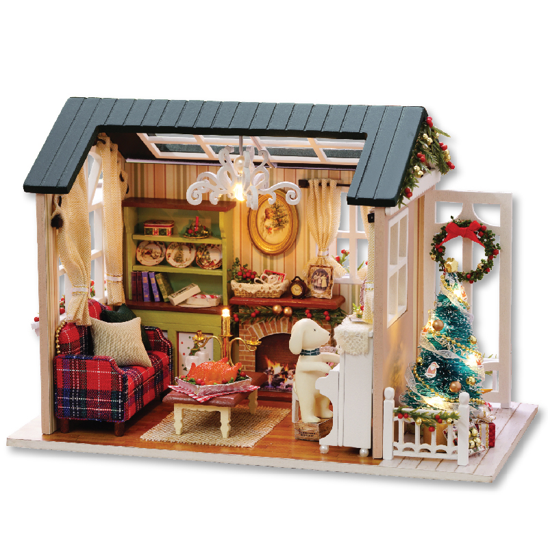 Christmas Gifts Diy Doll House Miniature Wooden Puzzle Dollhouse casa de bonec For Children Birthday Gift Toys-Holiday time Z009