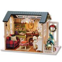 Casa de boneca de brinquedo diy casa de bonecas em miniatura de madeira quebra-cabeça casa de bonec brinquedos para crianças presente de aniversário brinquedos do feriado tempo z009