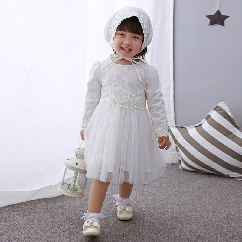 Princess Baby Girl Dress Long Sleeve Spring Autumn Lace Party Dresses with Hats Girl Clothes Set for Newborn Infant Christening new arrival spring autumn children s dress girl long sleeve lace dress party dresses girl girls clothes 5 10y