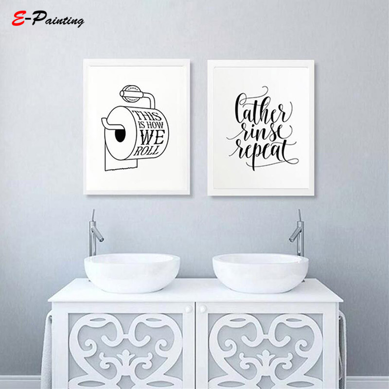 This Is How We Roll Kids Bathroom Signs Art Funny Wall Decor Quote Prints  Modern Canvas Painting Decorative Picture In Painting U0026 Calligraphy From  Home ...
