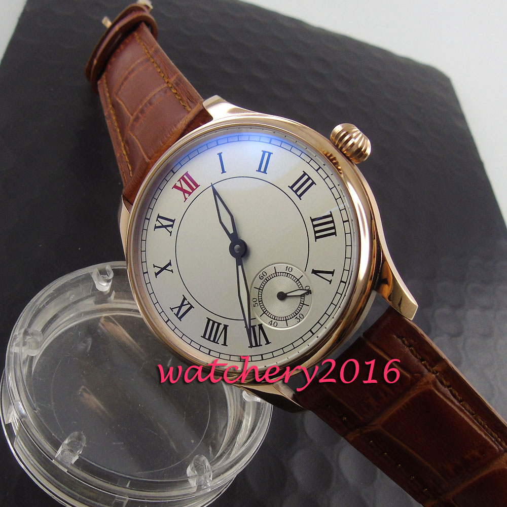 NEW Arrive 44mm parnis white dial Rose golden case Luxury Brand Roman numerals 6498 hand winding movement Mens business WatchNEW Arrive 44mm parnis white dial Rose golden case Luxury Brand Roman numerals 6498 hand winding movement Mens business Watch