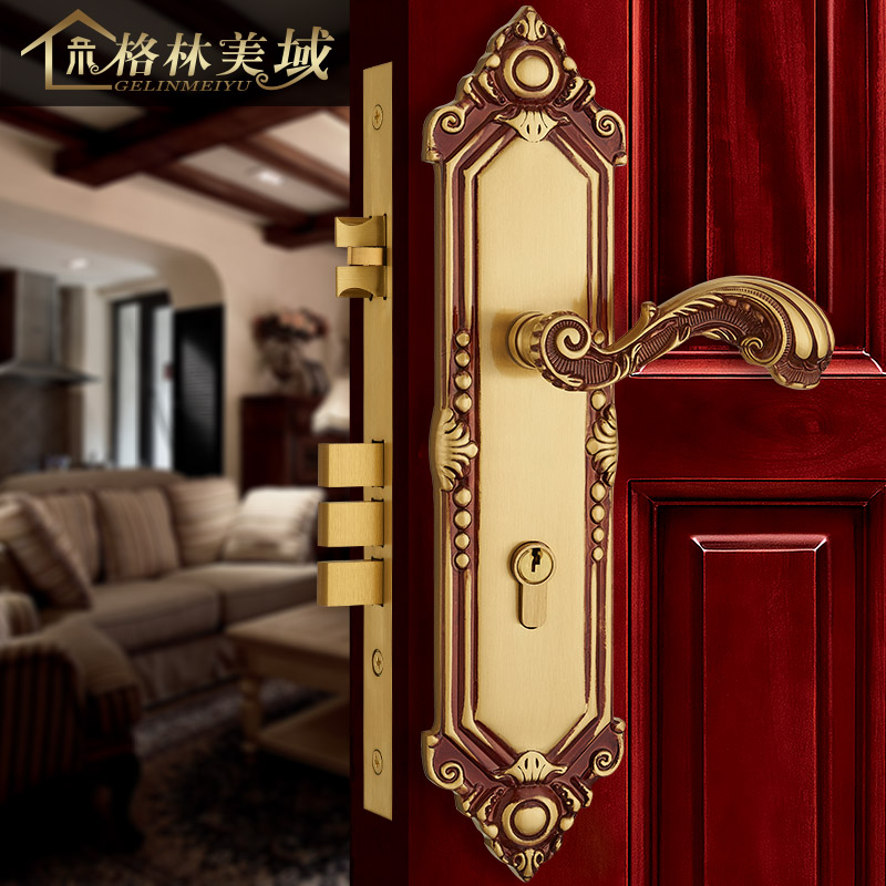 European copper door lock full copper gold door lock interior bedroom solid wood door locks interior bedroom european style locks home solid wood door lock handle quiet room jane european modern white amber door lock