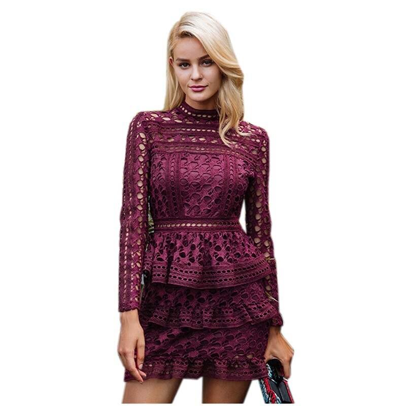 Elegant Hollow Out Ruffle Lace Dress Women Vintage Long Sleeve Robe Dress 2017 Autumn Winter Female