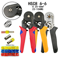 Цвета HSC8 6-6 обжимные плоскогубцы 0 25-6 мм2 23-10AWG для трубчатого терминала шестигранного давления мини Тип круглый нос европейский бренд инстру...