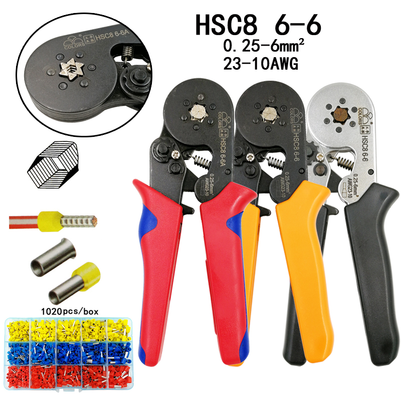 COLORS HSC8 6-6 Crimping Pliers 0.25-6mm2 23-10AWG For Tube Terminal Hexagon Pressure Mini Type Round Nose European Brand Tools