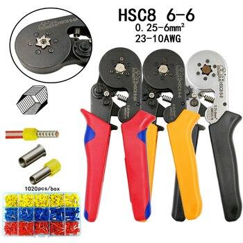 Kolory HSC8 6-6 szczypce do zaciskania 0.25-6mm2 23-10AWG do końcówki rurowej sześciokątne ciśnienie mini typ okrągły nos europejska marka narzędzia