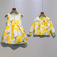 tulip flower print kids clothes girls 2016 autumn new baby girls party dress yellow dress+jacket children clothing for wedding