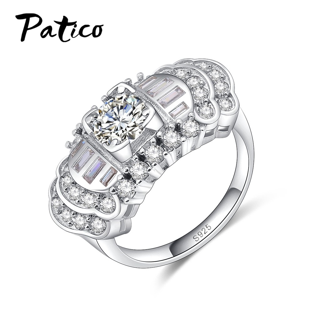 PATICO Engagement Rings Cubic Zirconia Rings Luxurious White Jewelry Wedding Ring Women Men Bijoux For Party Top Quality Gifts