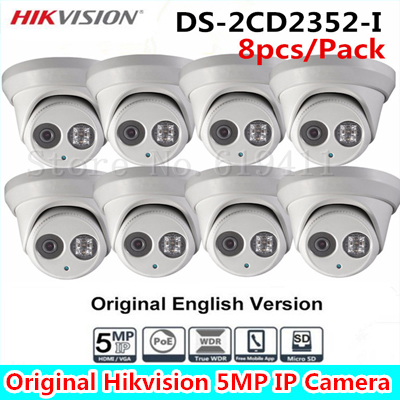 8Pcs 5MP WDR EXIR Turret Network Camera DS-2CD2352-I Dome IP Camera IP66 Weather-Proof Protection Outdoor Security Camera 30m IR newest original english version ds 2cd2342wd i 4mp wdr exir turret network camera mini dome ip camera cctv camera 2 8mm lens