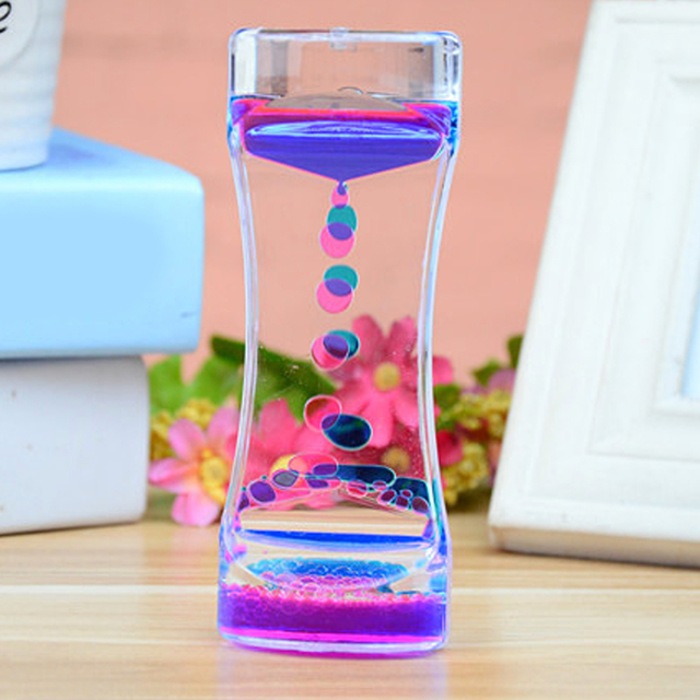 Newest Floating Color Mix Illusion Timer Liquid Motion Visual Slim Liquid Oil Glass Acrylic Hourglass Timer Clock