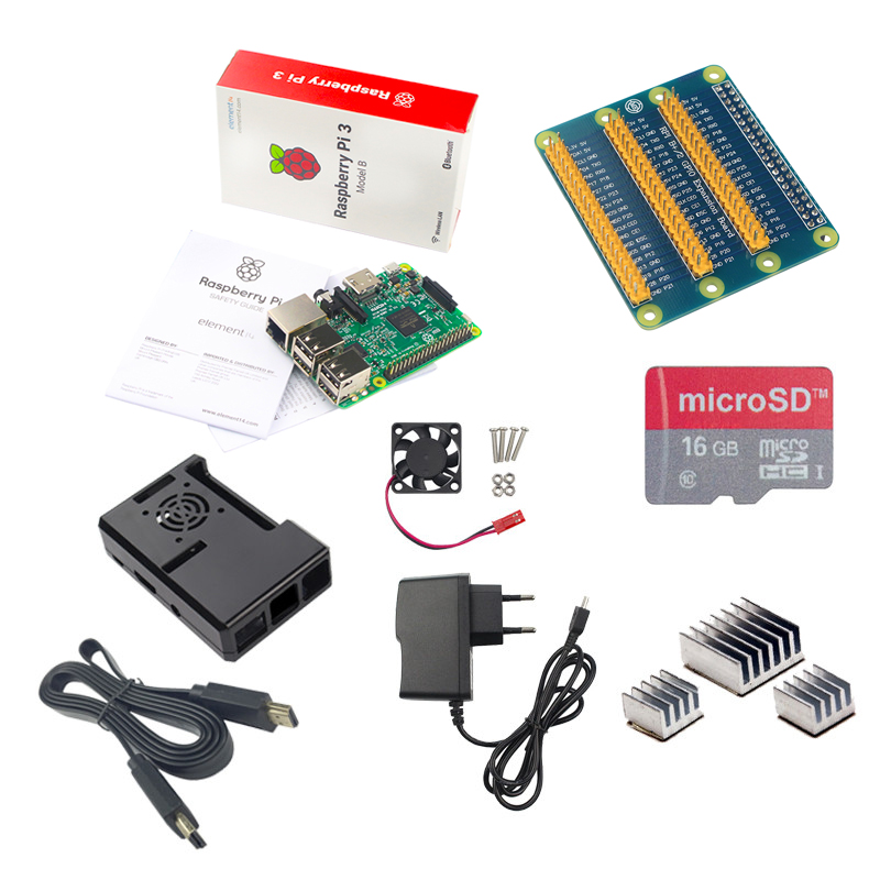 Raspberry Pi 3+16G SD Card+Cooling Fan+1.5M HDMI Cable+5V2.5A Power Charger Supply+GPIO Adapter +Raspberry Pi ABS Case 5v2 5a 5v 2 5a raspberry pi 3 power adapter micro port charger power supply unit power source adapter socket eu uk us for pi 3