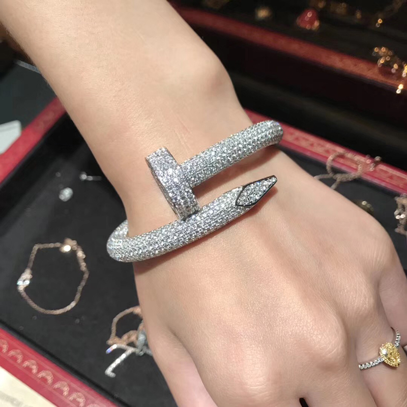 Hot Classic Brand Pure 925 Sterling Silver Jewelry For Women Full Stone Nail Bangle Big Nail