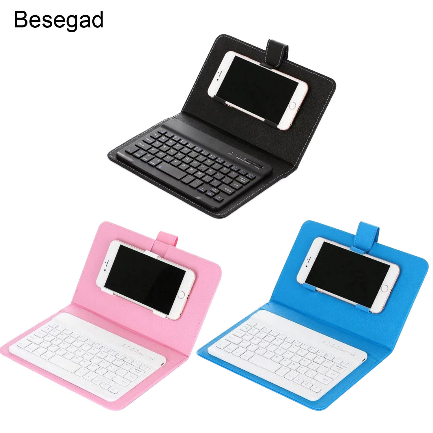Besegad PU Leather Bluetooth Wireless Keyboard Case Phone Tablet Protective <font><b>Cover</b></font> for iPhone 7 8 X 10 iPad Huawei Xiaomi Samsung image