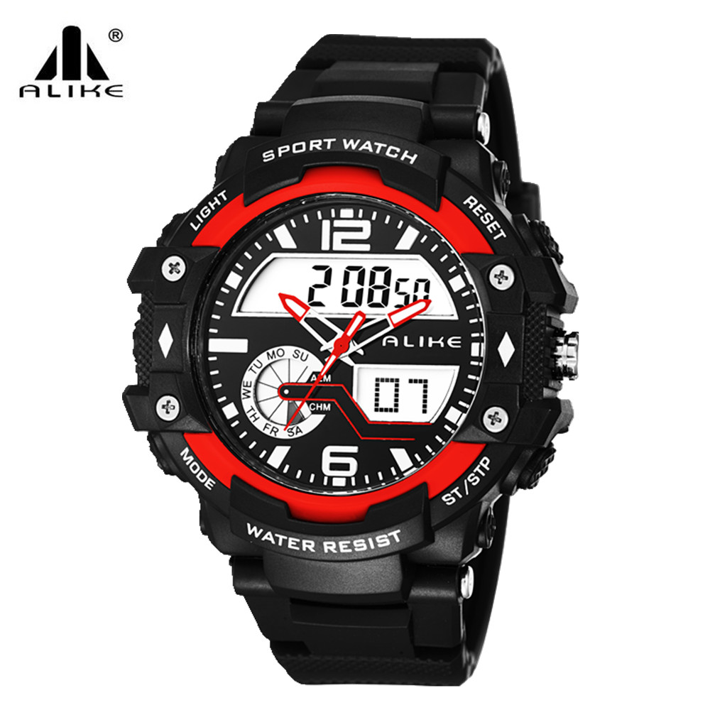 20969a198 ୧ʕ ʔ୨Marca Alike multifunction Men Digital LED Militar Relógio de ...