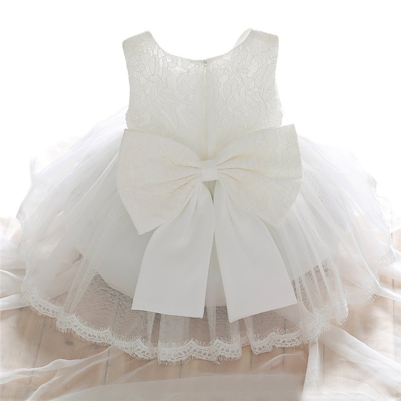 2019 Newborn Baptism Dress For Baby Girl White First Birthday Party Wear Cute Sleeveless Toddler Girl Christening Gown Clothes