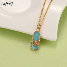 OQEPJ Summer Style Korea Lovely Butterfly Character Slippers Necklaces Pendant Stainless Steel Jewelry High Quality Simple Gift