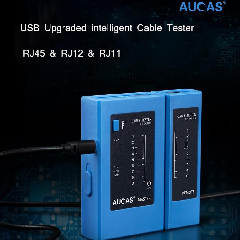 цена на AUCAS Network Cable Tester rj45 RJ11 Network LAN Ethernet RJ45 Cable Tester tool