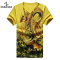 Large Size Men Printed Short Sleeve T-shirt cotton V-neck Slim High Quality Summer Male T-shirt Chinese Style White Yellow 5XL