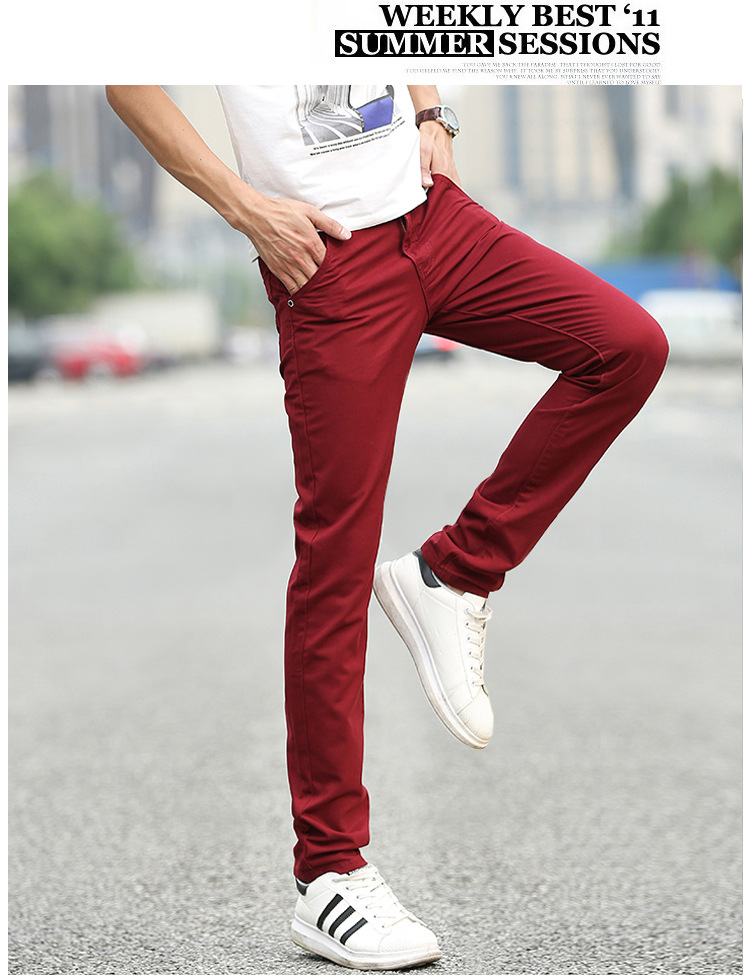 Business Casual Pants 11 Colors New Casual Pencil Pants Men Slim Pant Straight Trousers Solid Leisure Zipper Spring Summer k919 38