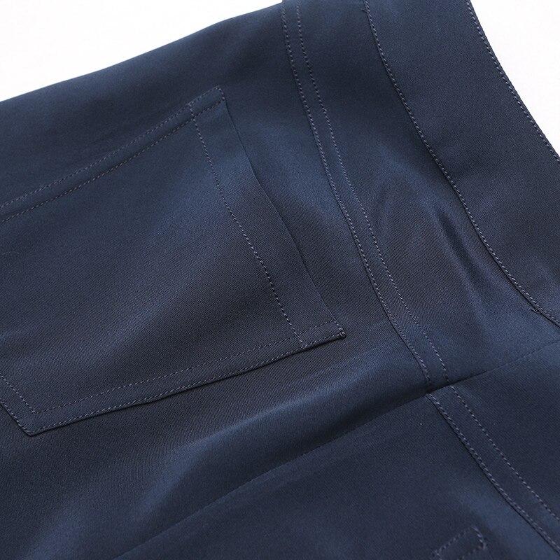 Mince D'été Nouvelles Voa Décontracté Pattes Pantalons Soie Supérieure K7609 Solide 2017 Bleu Pantalon Marque Qualité D'éléphant Lâche Marine Femmes qwxqav7rC