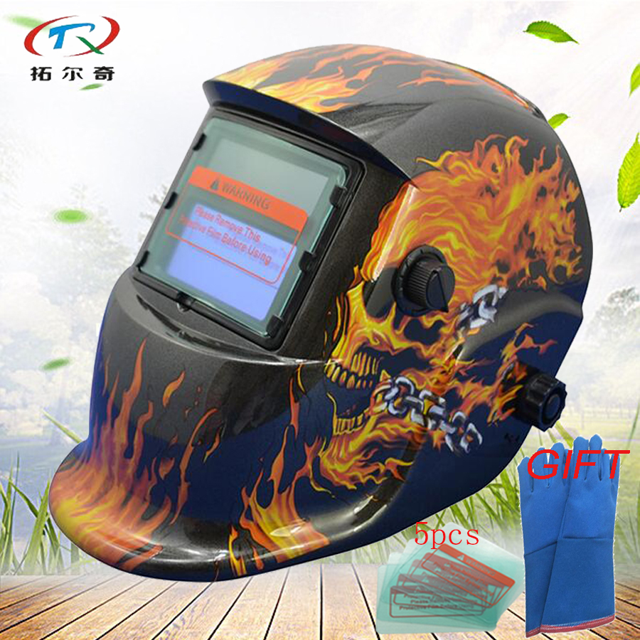 Solar Welding Mask Lithium Battery Auto Darkening Welding Helmet With Gloves Fast Shipping Semi-Automatic Mig Tig HD07(2233FF)GY