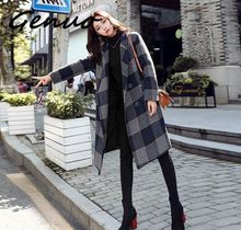Genuo New women fashion Plaid trench coat female long section 2019 new casual loose women's coat цена