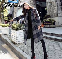 Genuo New women fashion Plaid trench coat female long section 2019 new casual loose women's coat