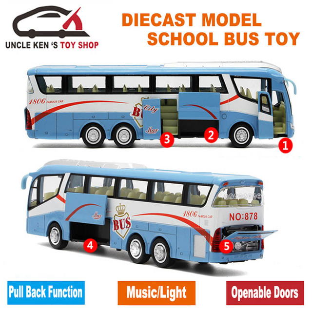 1 55 Sacle Diecast Model, Metal Shuttle Bus, 25Cm Length Boys Gift Alloy Toys With Openable Doors/Music/Light/Pull Back Function