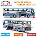 1 55 Sacle Diecast Modelo, de Metal Autobús, 25 Cm Longitud Niños Regalos Juguetes de Aleación Con Las Puertas Se Pueden Abrir/Música/Luz/Tire Hacia Atrás la Función