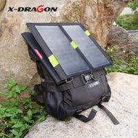 X-DRAGONแบบพกพาพลังงานแสงอาทิตย์ชาร์จแบบDual USB 5โวลต์14วัตต์พลังงานแสงอาทิตย์ชาร์จสำหรับiPhone iPad Samsung HTCโ...