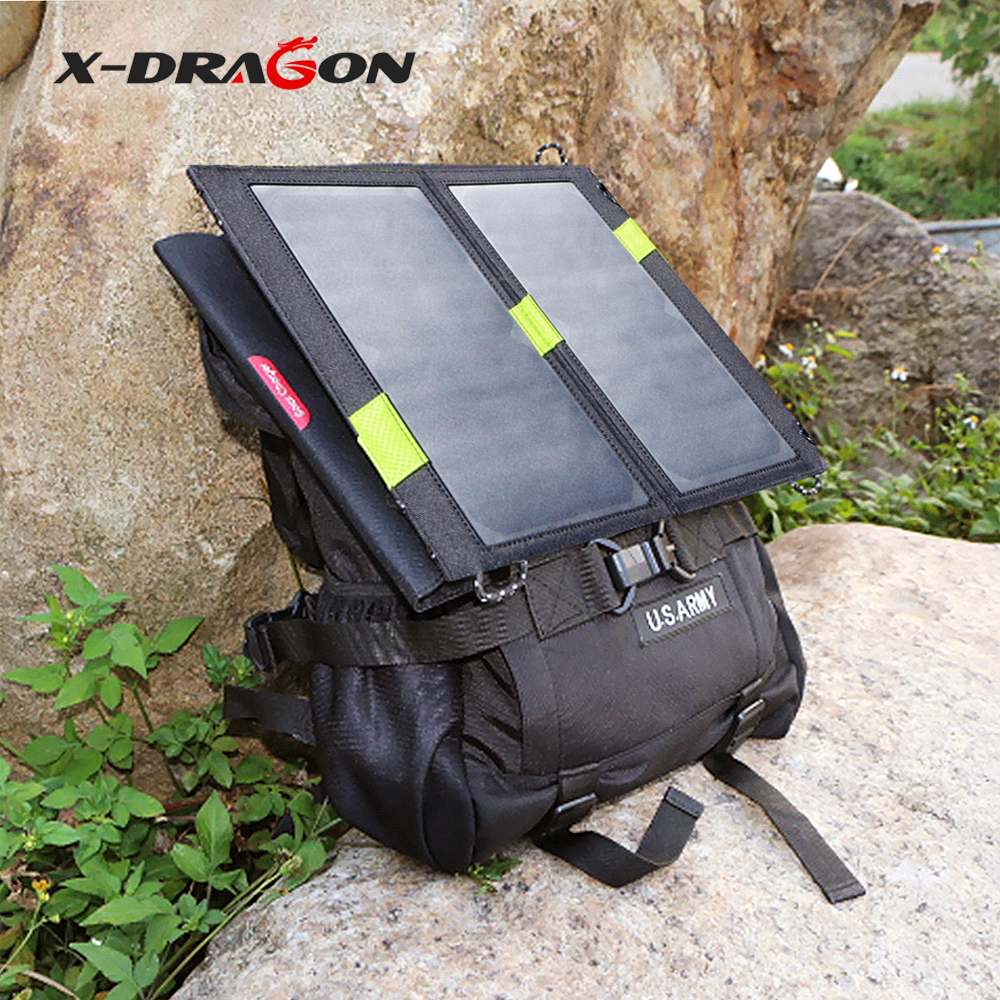 X-DRAGON Portable Solar Charger Dual USB 5V 14W Solar Charging for iPhone iPad Samsung HTC Nokia Motorola Huawei Xiaomi. ...