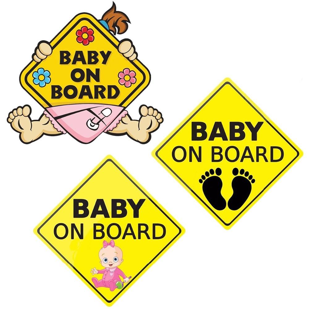 Светоотражающая Автомобильная наклейка для детей, предупреждающие надписи, мультяшная наклейка для детей